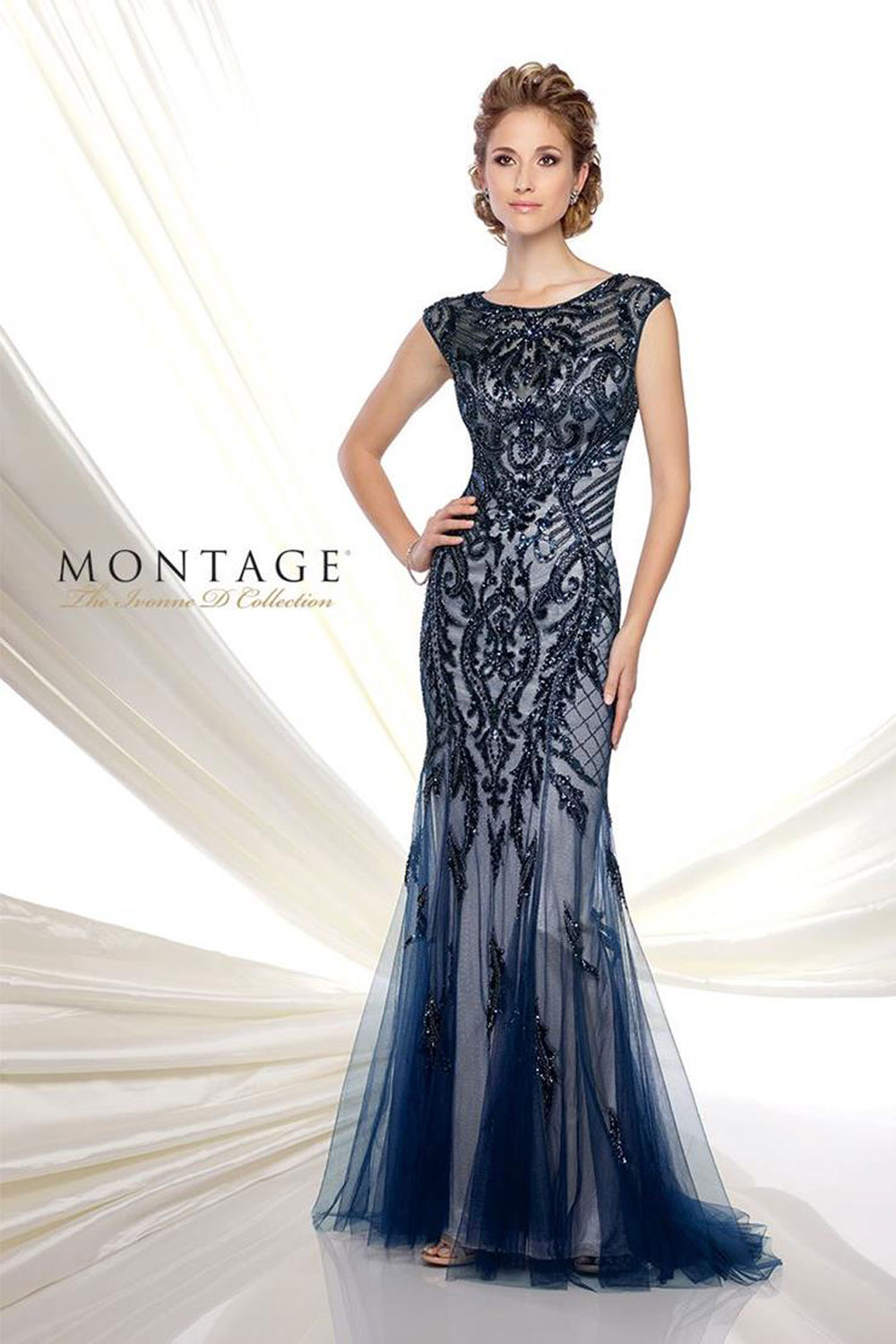Evening gown with three-quarter sleeves & bateau neckline.