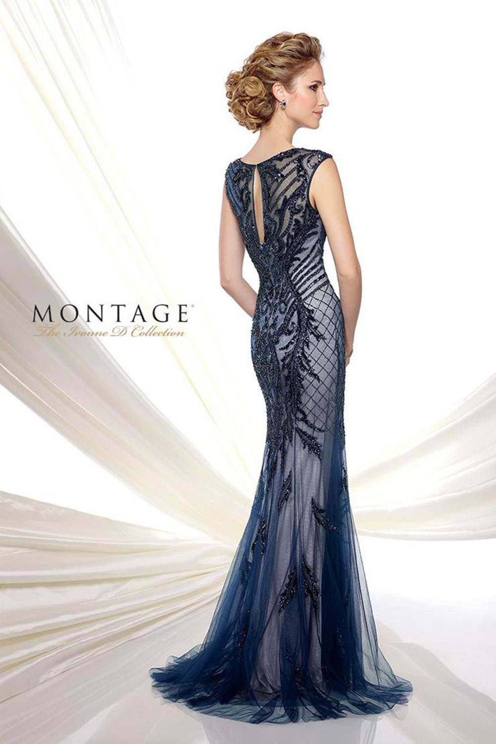 Evening gown with three-quarter sleeves& bateau neckline.