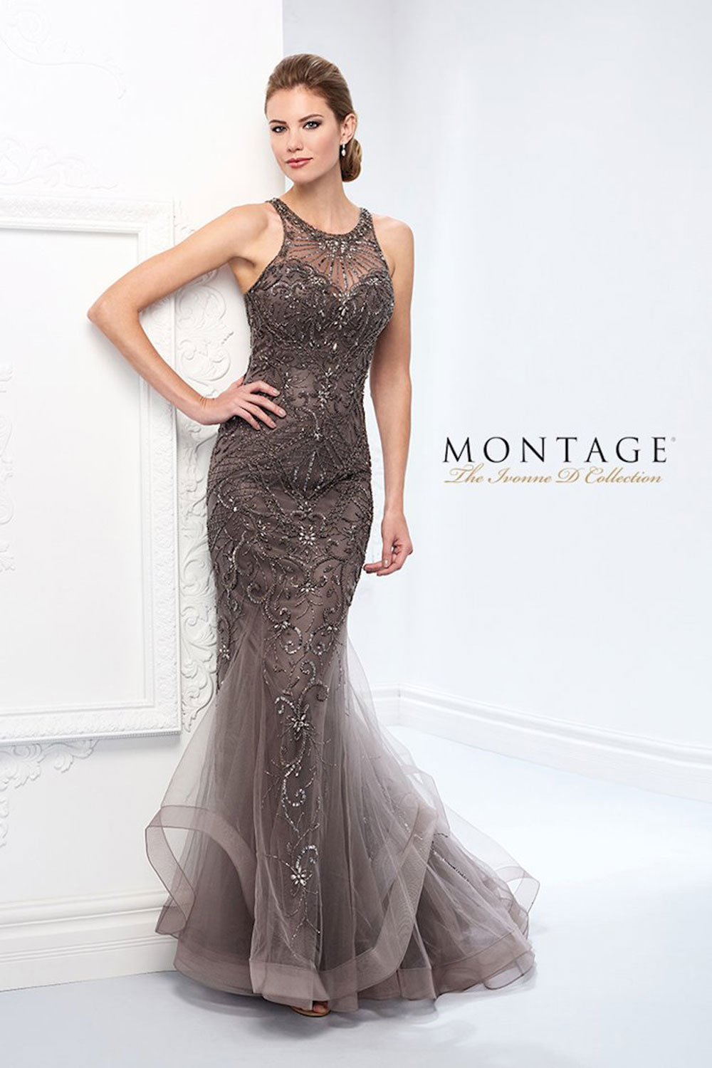 Trumpet gown, with drop waist sweetheart bodice encrusted with beaded motifs