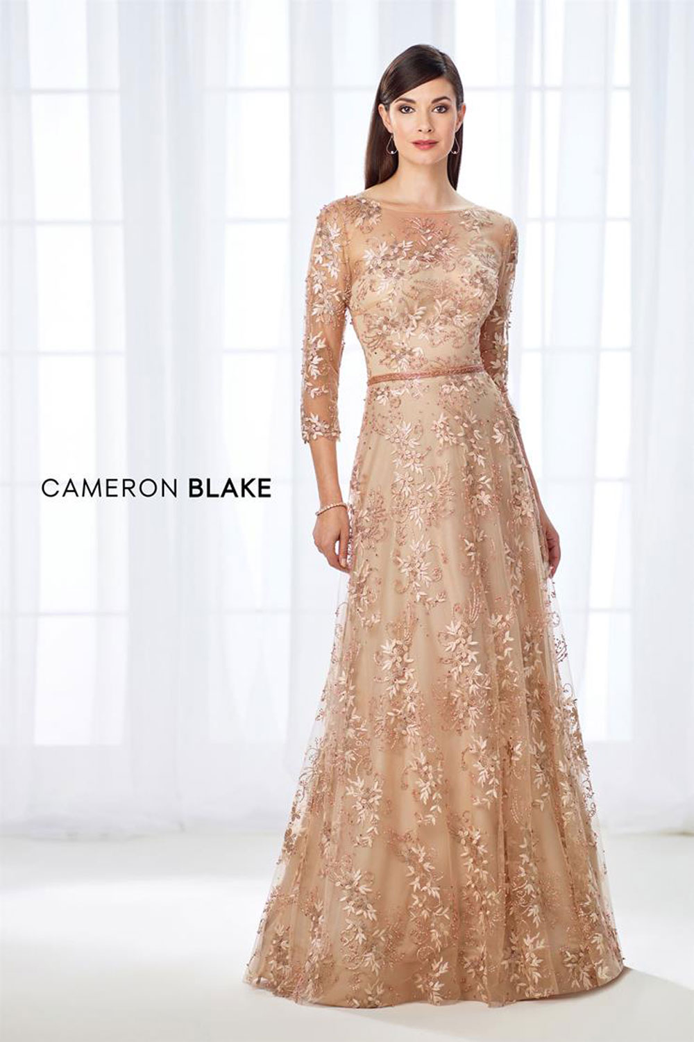 Classic & dreamy A-line gown with illusion lace