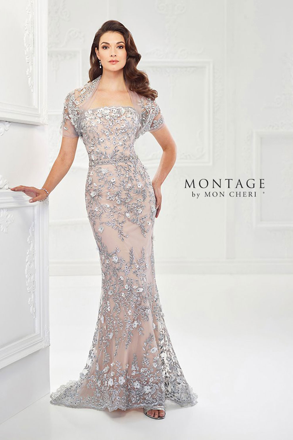 Beautiful lace fit & flare gown with three-dimensional flowers