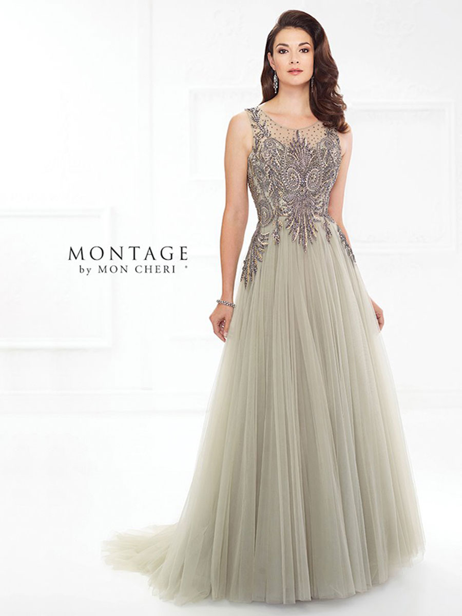 Beautiful A-line gown, sleeveless