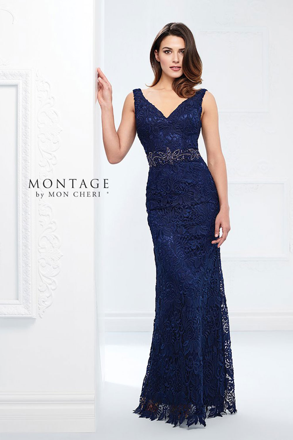 Fit and flare gown, with front and back V-necklines