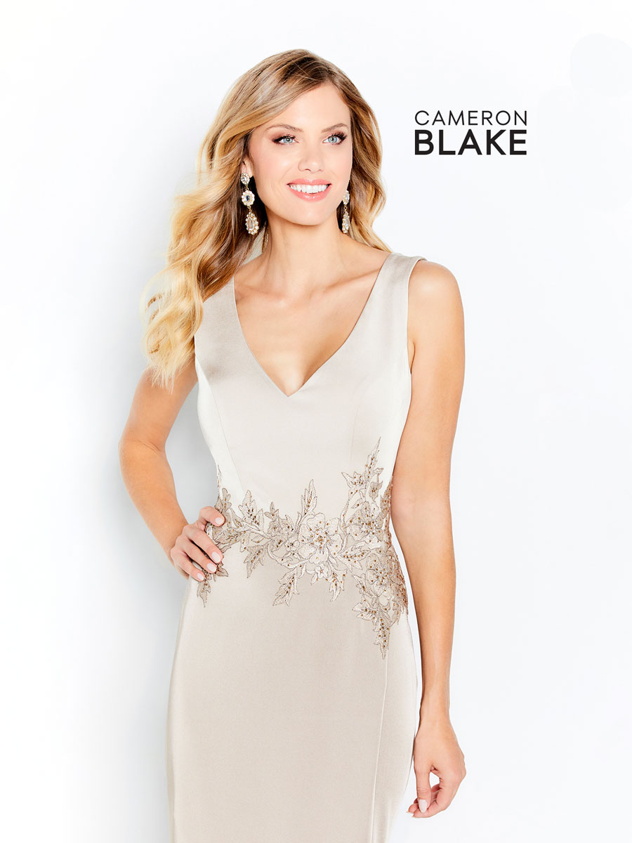 V-neckline, sleeveless, perfect for mother of the brides