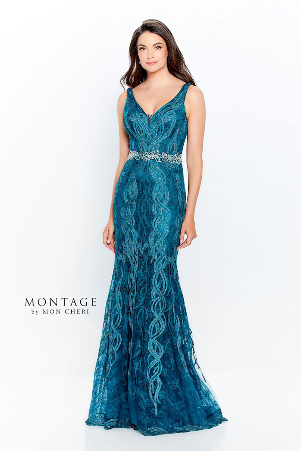 Evening dress, V-neckline with illusion modesty