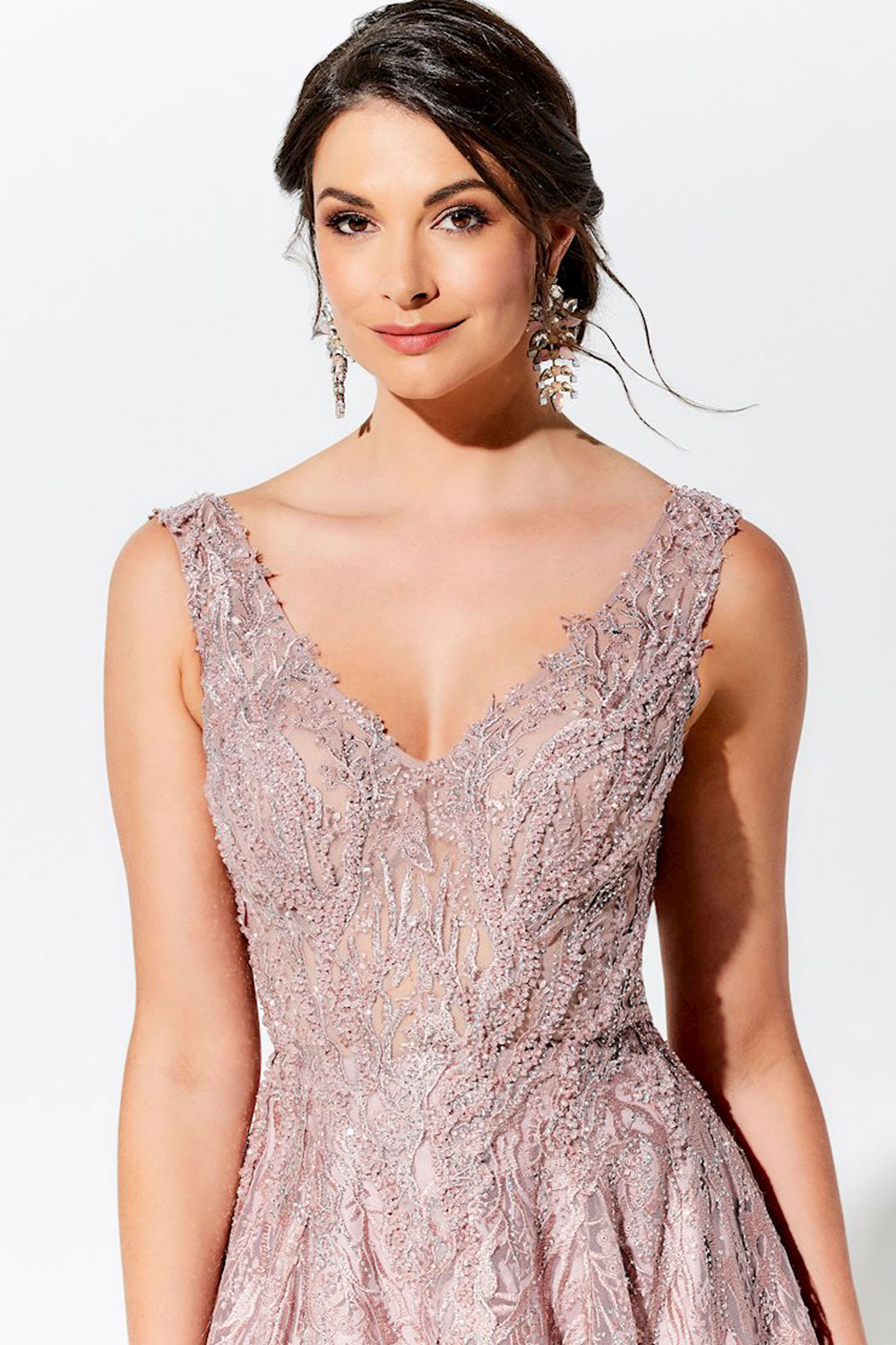 Ball gown evening dress, with illusion V-neckline & detachable flutter sleeves