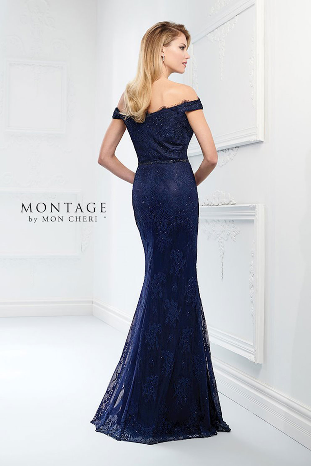 Evening dress with off-the-shoulder