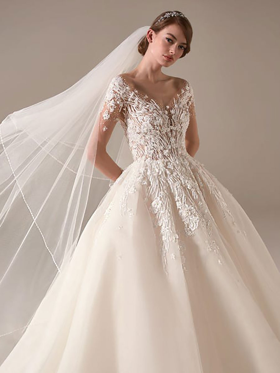 Tulle princess skirt with appliques on a semi-illusion bodice along with long sleeves