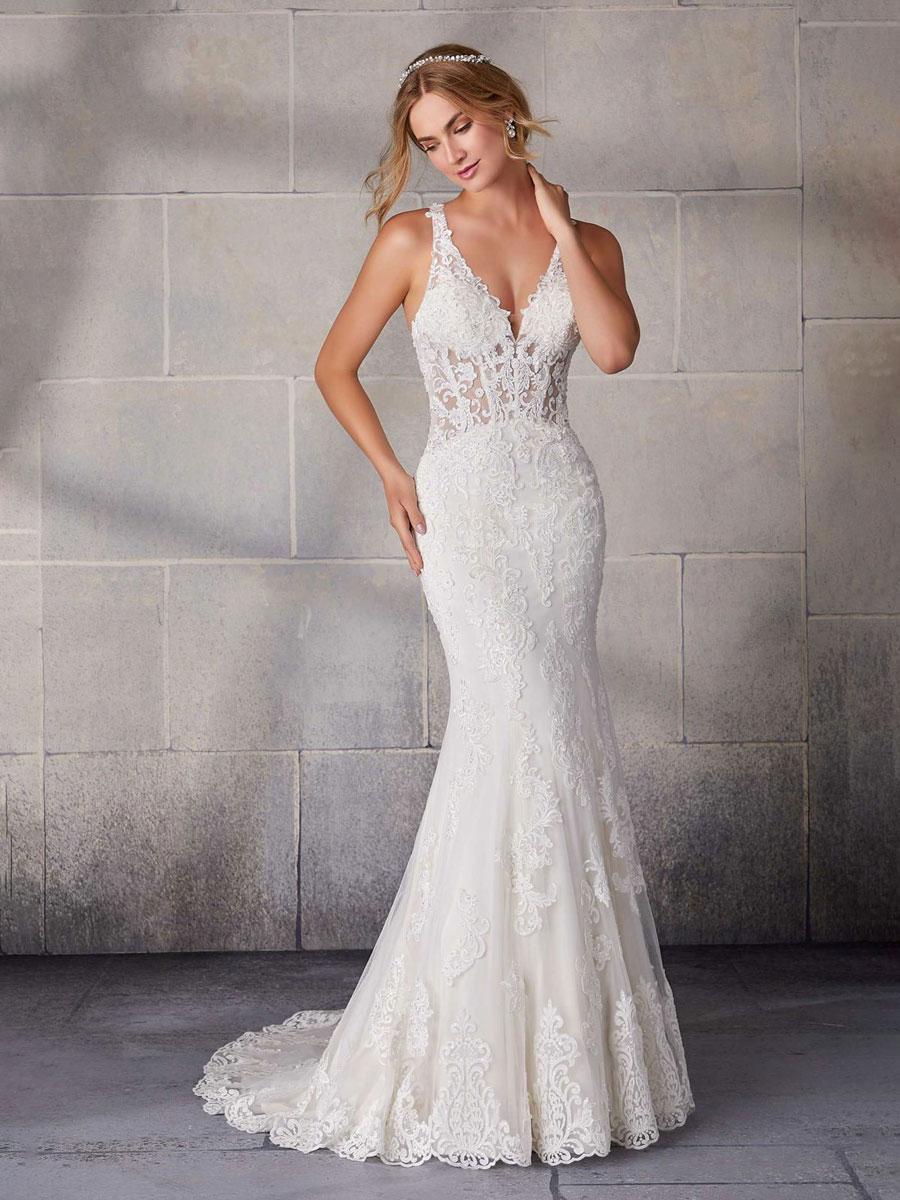 Slim fit to flare silhouette wedding dress with a classic, romantic look