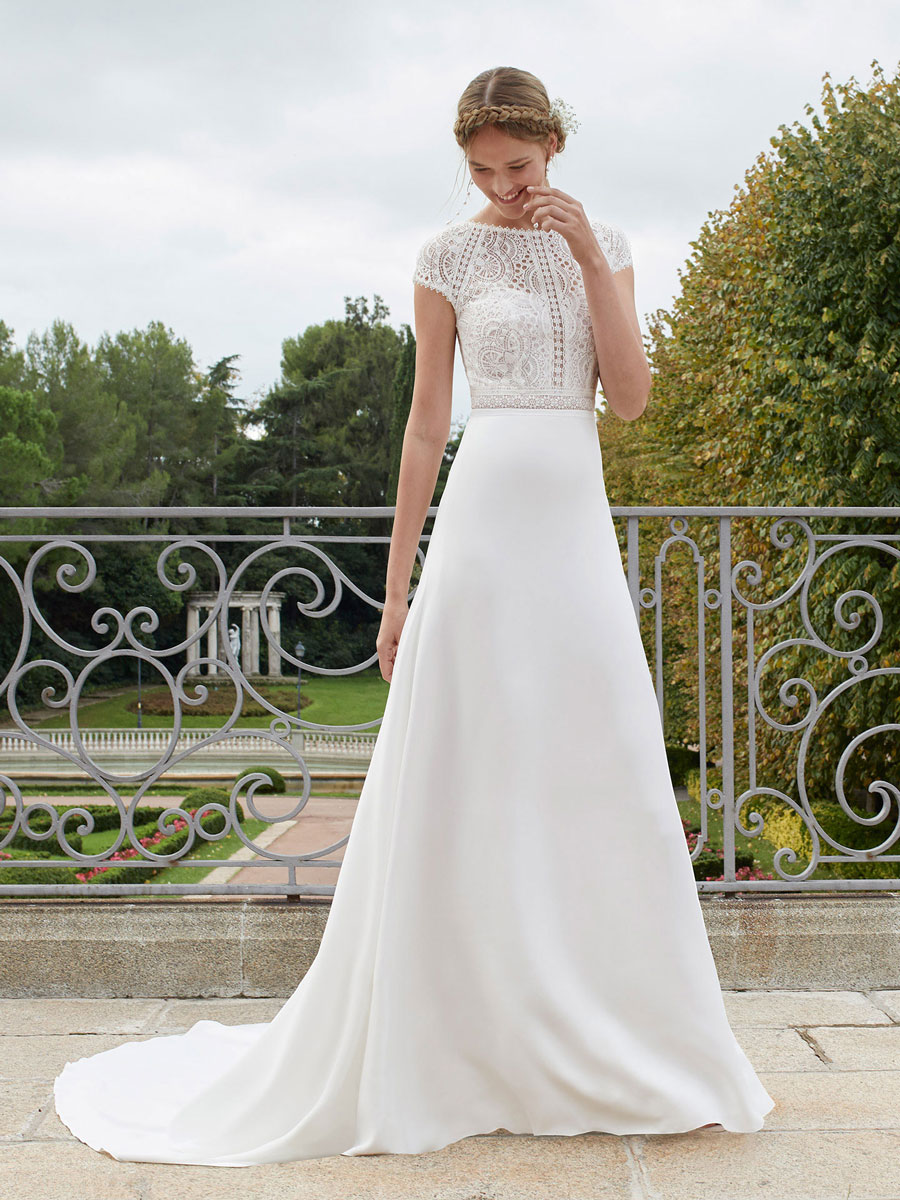 Simple wedding dresses, bateau neckline, short sleeves and open back