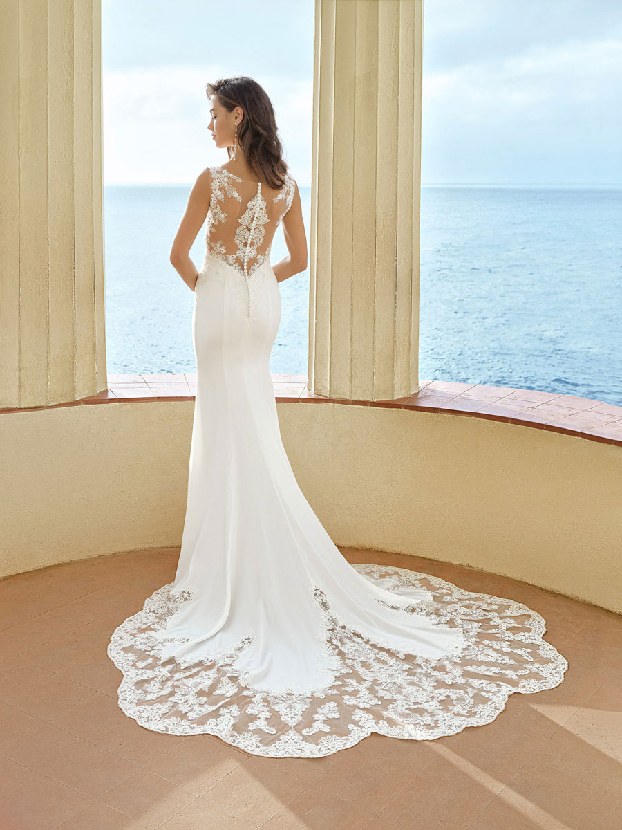 Modern wedding gown with Alençon and French lace