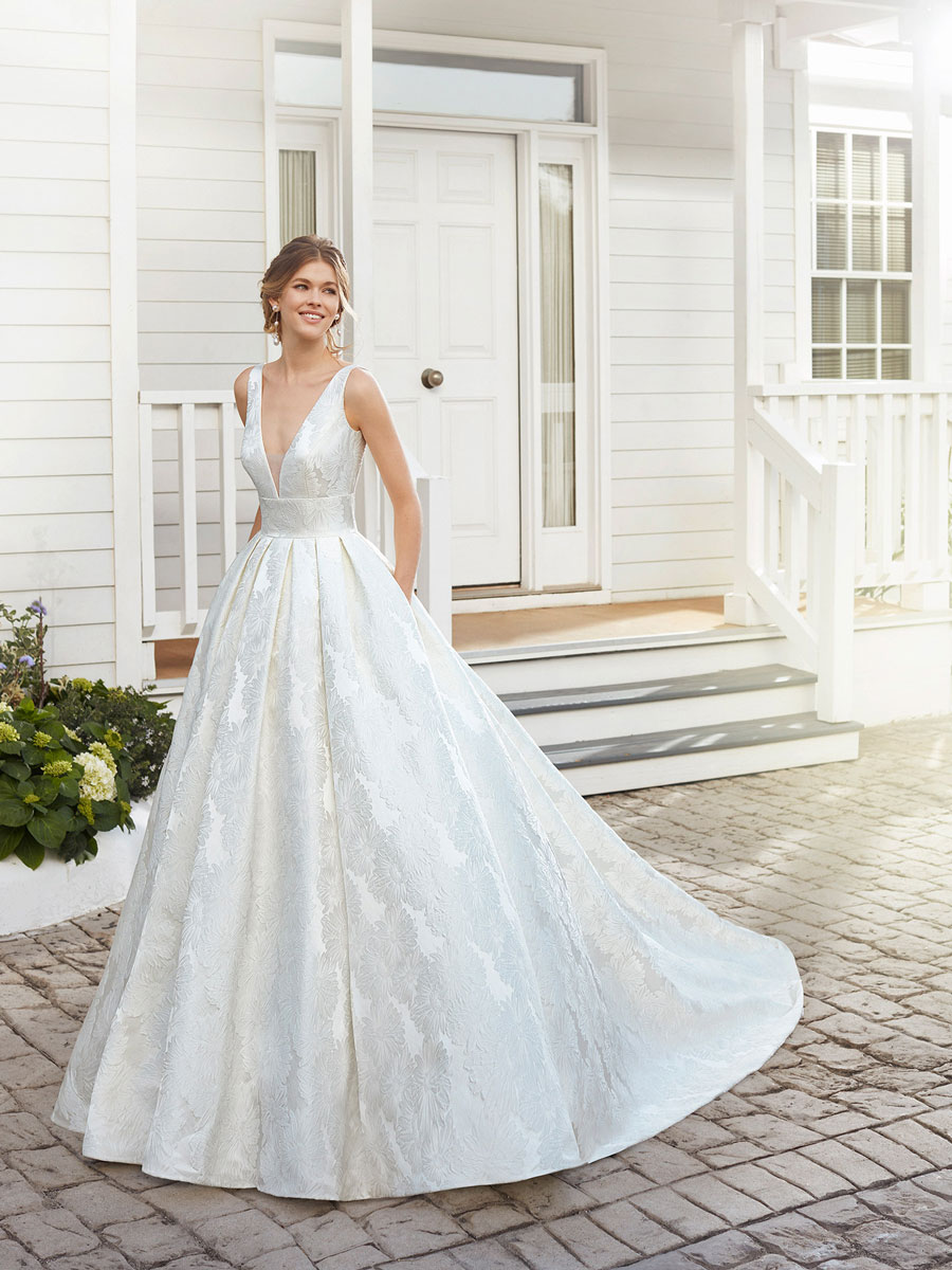 Classic wedding gown with a V-shaped neckline