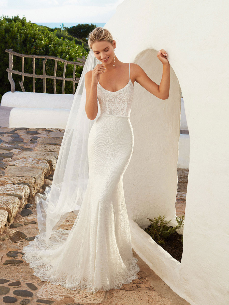 Mermaid wedding dress with beaded lace bodice.