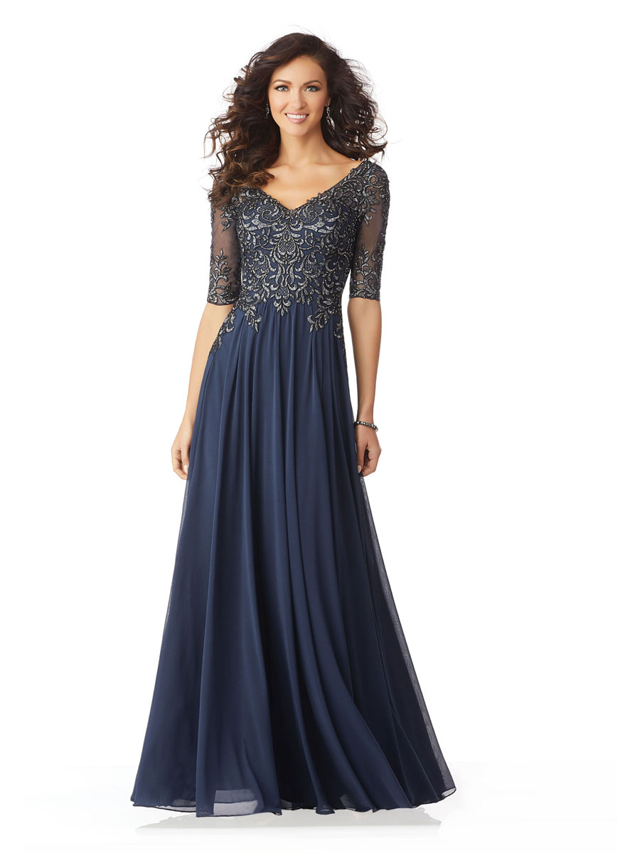 Stretch mesh evening gown for mother of the brides