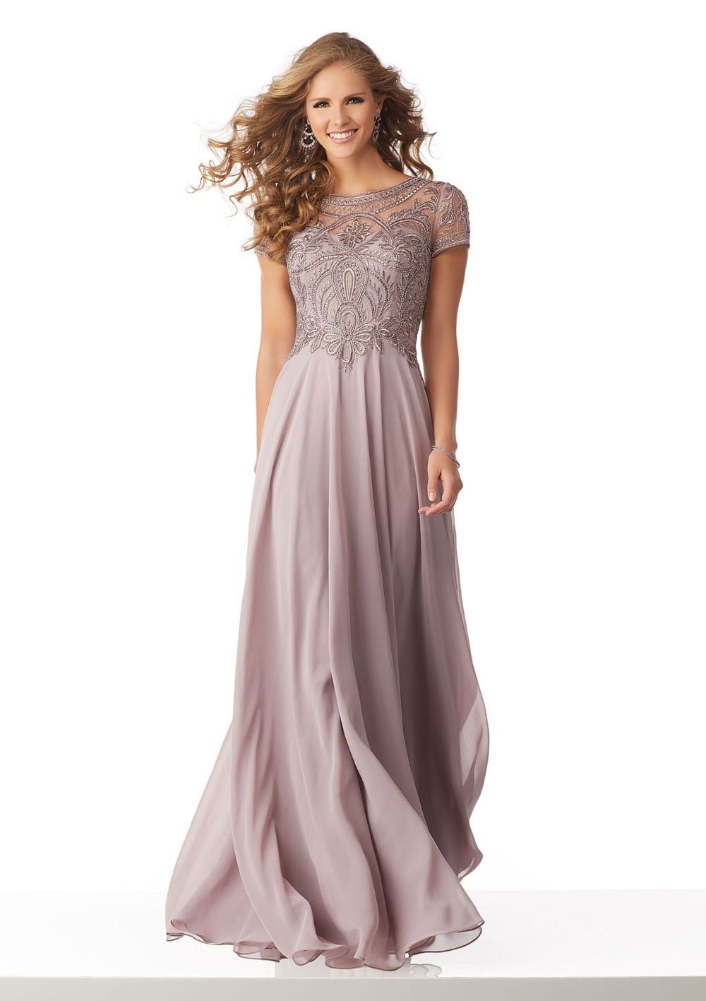 Stunning chiffon evening gown, with illusion back
