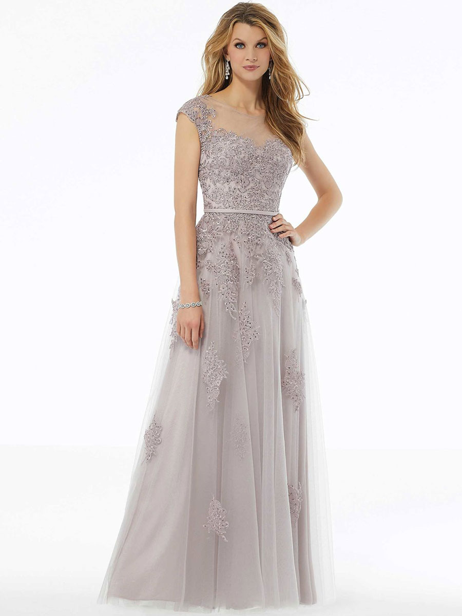 A-Line evening gown with beaded lace appliqués