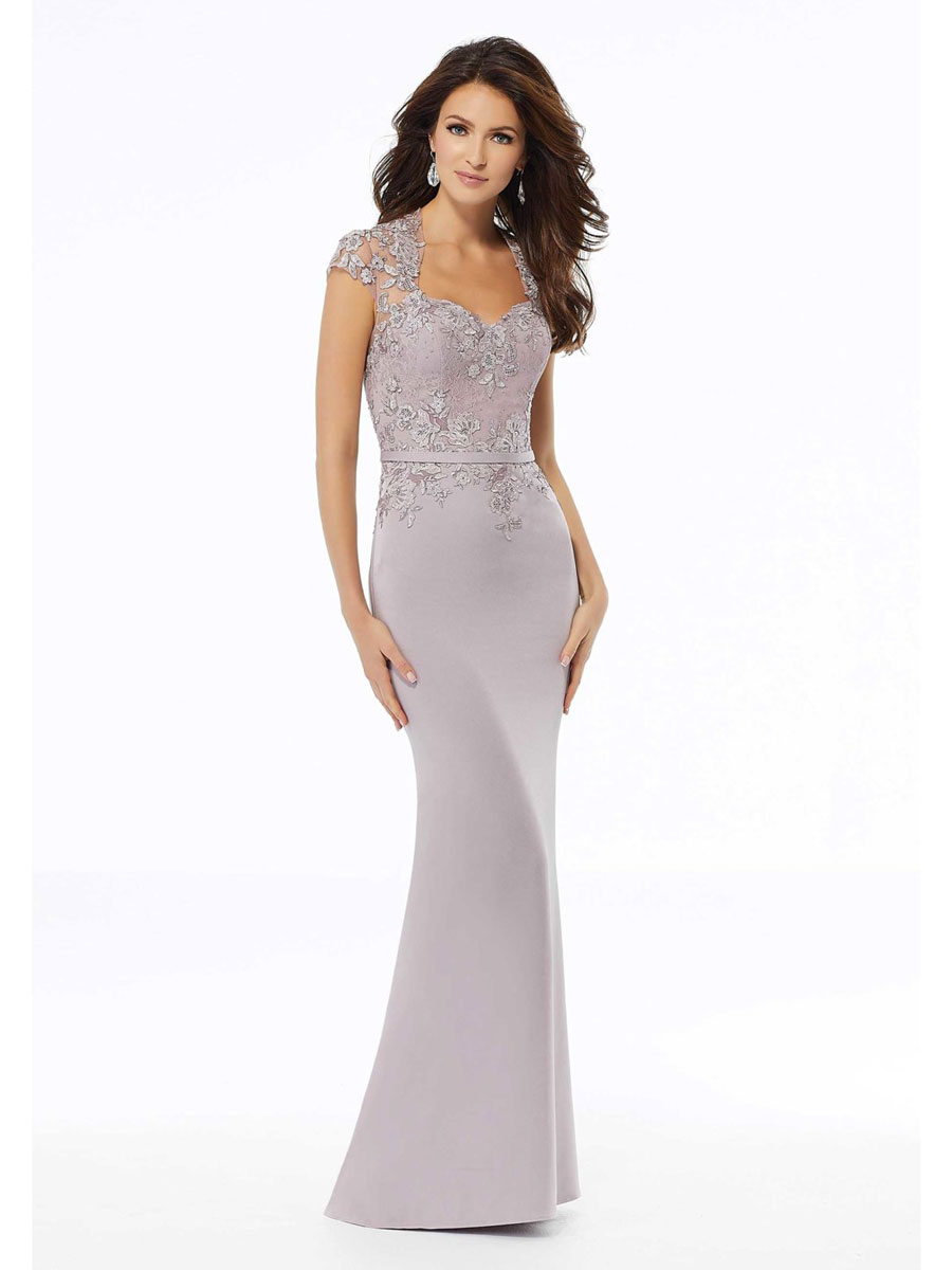 Beaded evening dress in lace & comes in charcoal, navy & lilac