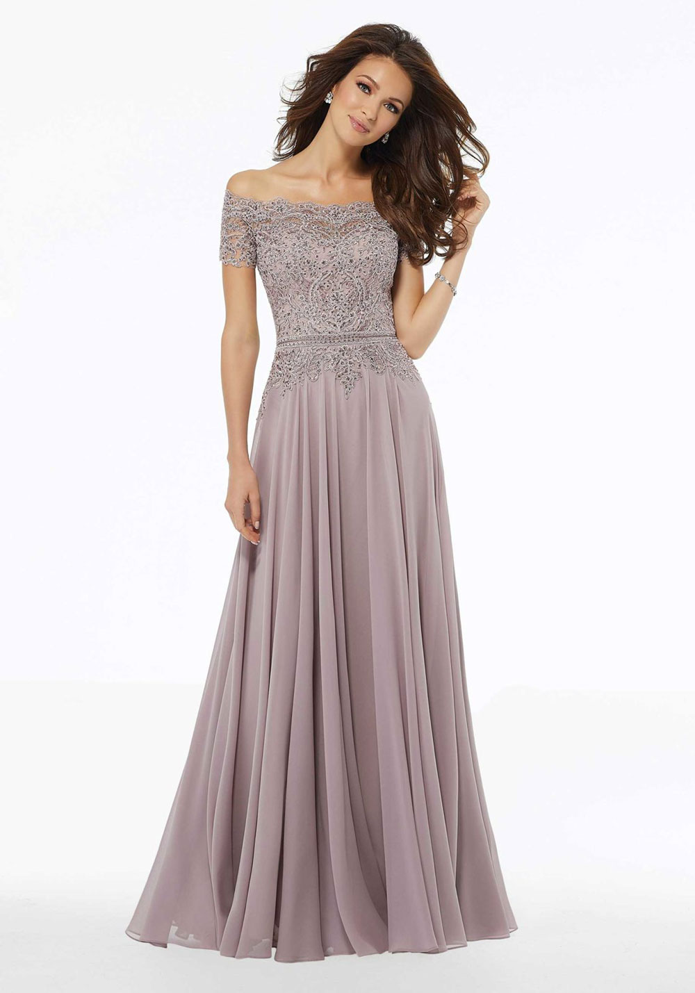 A-Line evening dress with beaded appliques